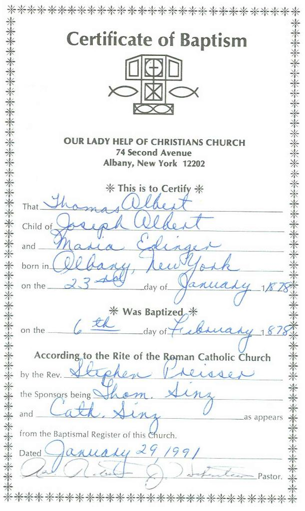 Jennings Genealogy - Thomas Albert's baptism certificate from Our