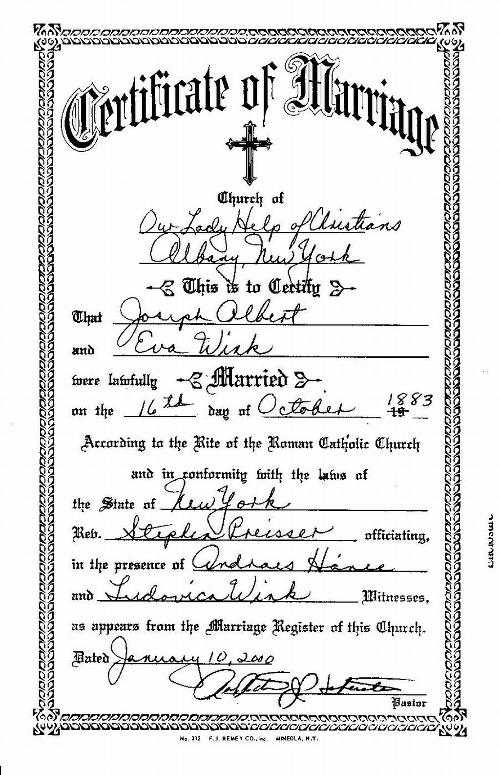 Jennings Genealogy - Joseph Albert and Eva Wink's marriage