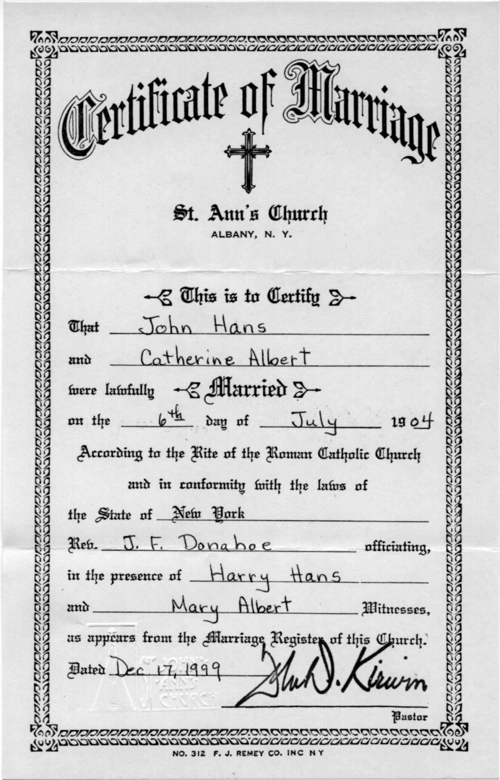Jennings genealogy john hans and catherine alberts marriage john hans and catherine alberts marriage certificate from st anns church in albany ny 1betcityfo Gallery