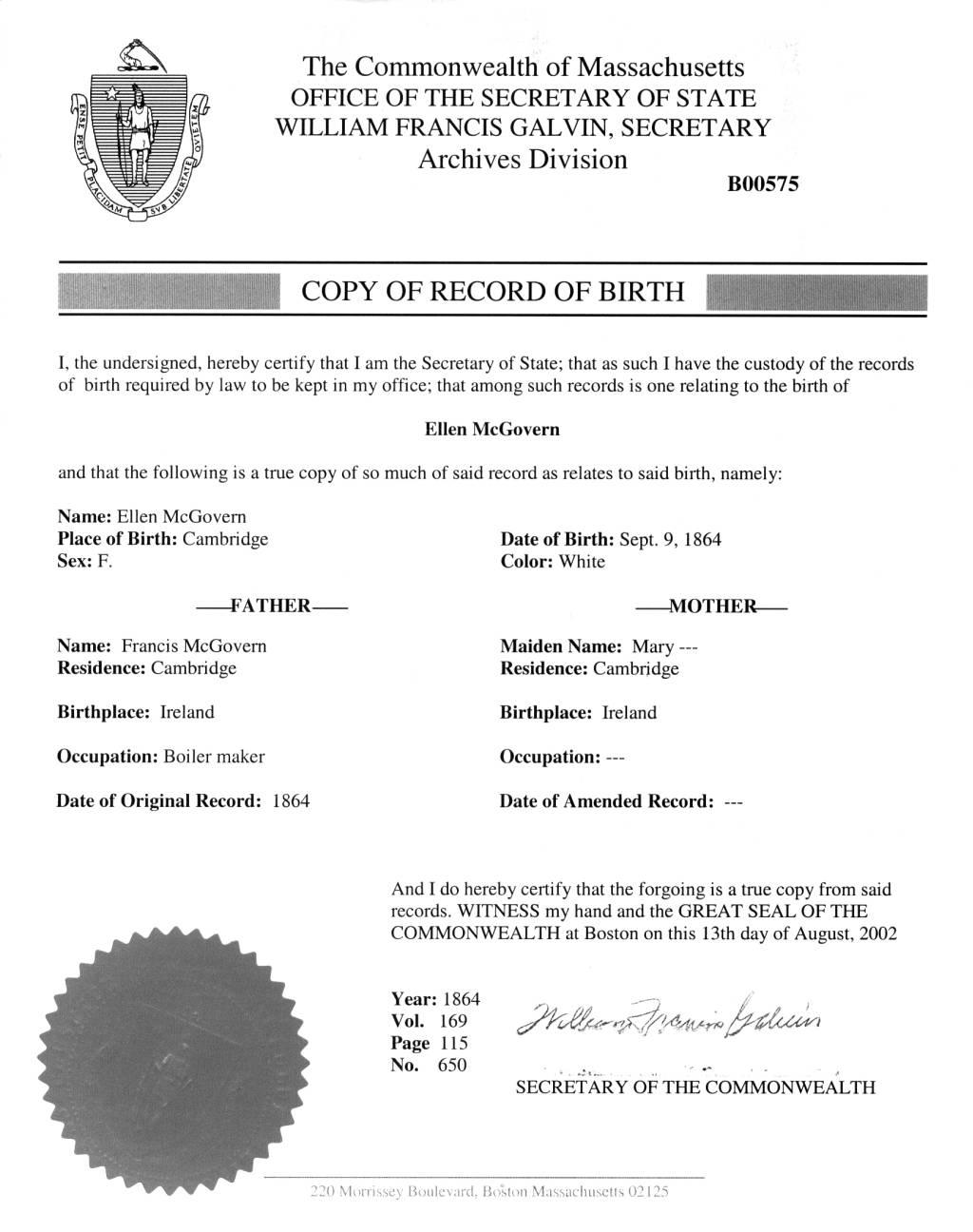 Jennings genealogy ellen f mcgoverns birth certificate ellen f mcgoverns birth certificate aiddatafo Image collections