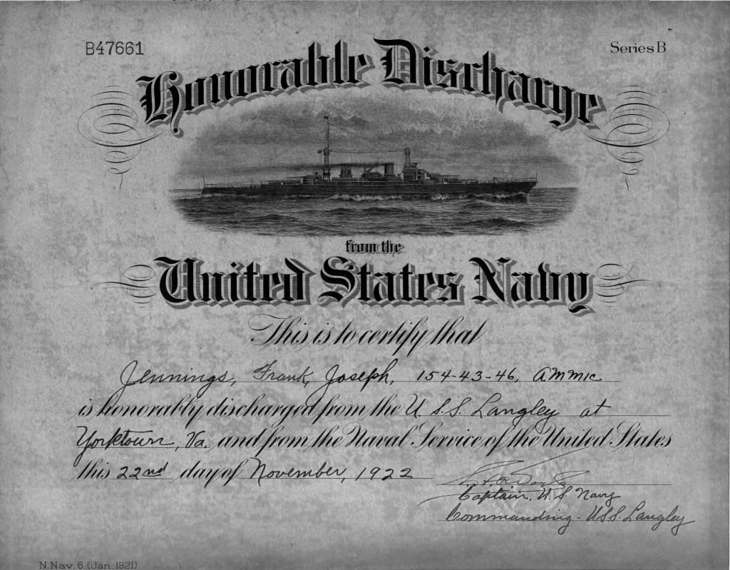 Jennings Genealogy Francis J Jennings Honorable Discharge