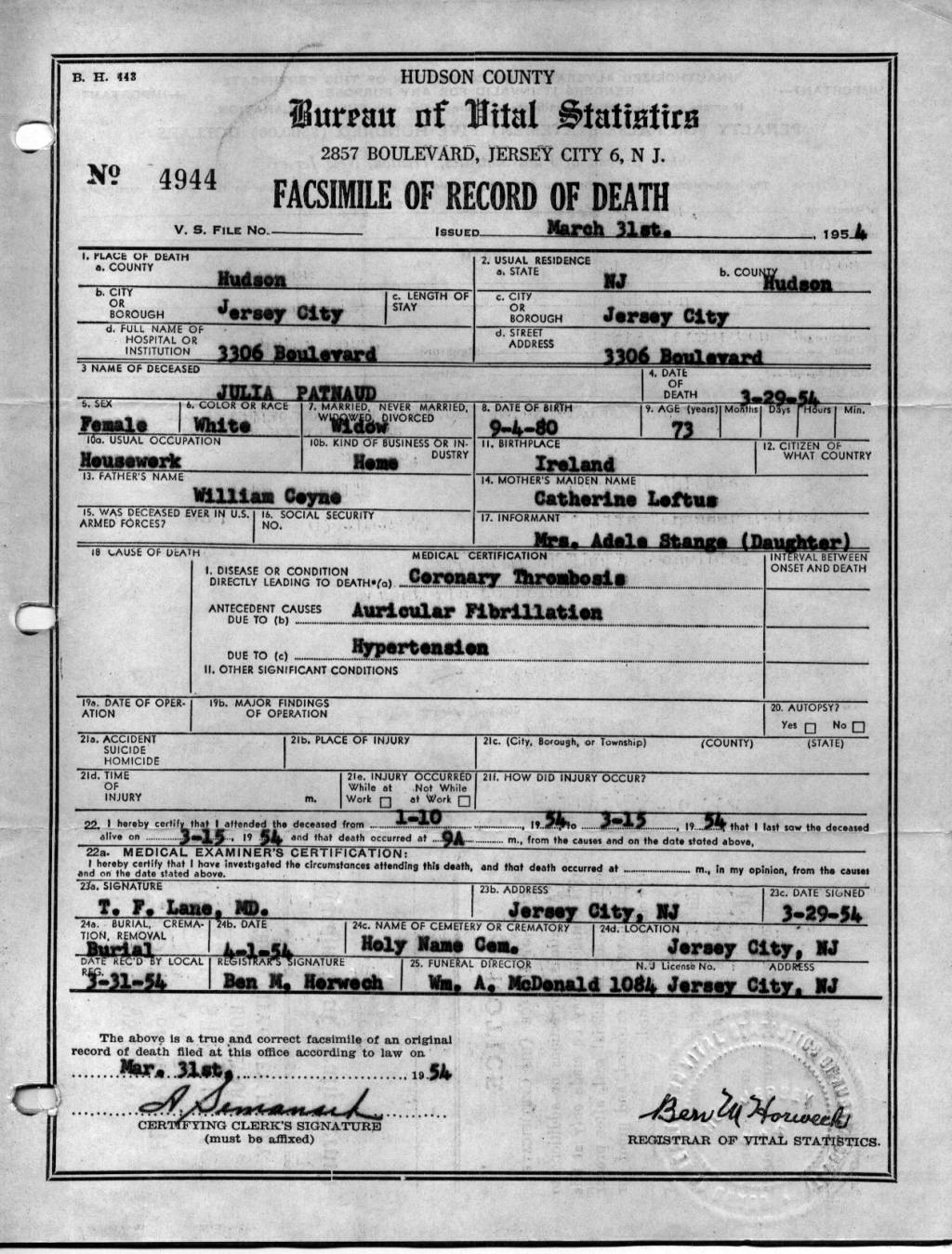 Jennings Genealogy Julia Coyne Patnauds Death Certificate From